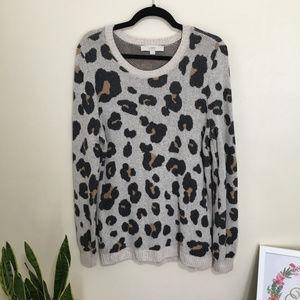 LOFT leopard print jacquard sweater